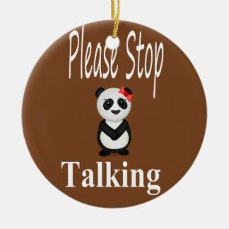 Ornamento De Cerâmica Pare de falar a panda