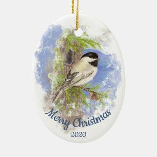Ornamento De Cerâmica Pássaro datado feito sob encomenda do Chickadee da
