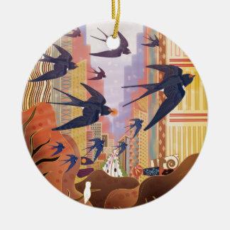 Ornamento De Cerâmica Pássaros que voam na cidade