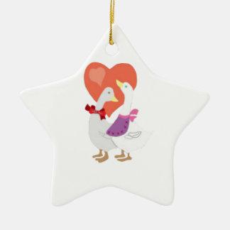 Ornamento De Cerâmica Patos no amor
