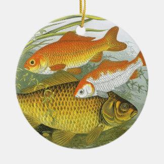 Ornamento De Cerâmica Peixe dourado aquático Koi do vintage, peixe