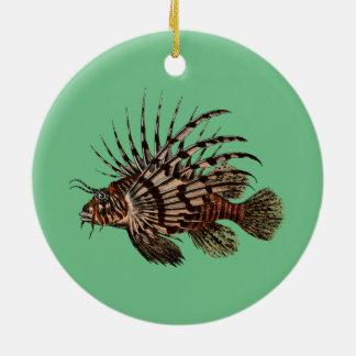 Ornamento De Cerâmica Peixes bonitos & simples do leão do vintage
