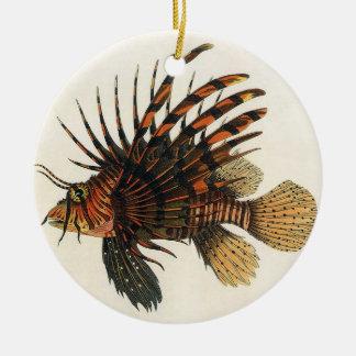 Ornamento De Cerâmica Peixes do Lionfish do vintage, animal marinho da