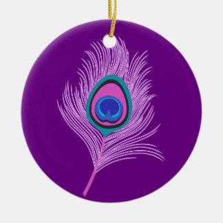 Ornamento De Cerâmica Pena do pavão da orquídea no roxo Amethyst