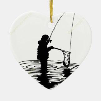 Ornamento De Cerâmica Pesca preto e branco, peixe