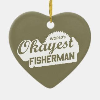 Ornamento De Cerâmica Pescador do Okayest do mundo