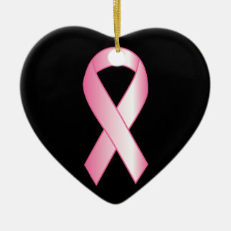 Ornamento De Cerâmica Pesquisa de cancro da mama cor-de-rosa da fita