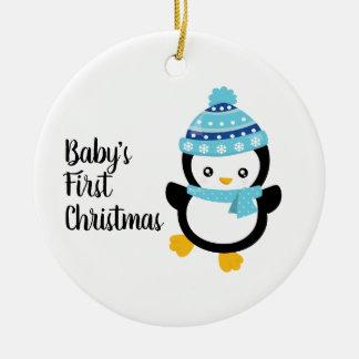 Ornamento De Cerâmica Pinguim do Natal do bebê primeiro