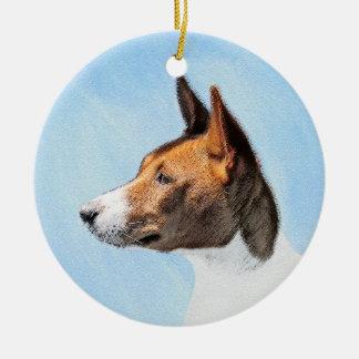 Ornamento De Cerâmica Pintura de Basenji - arte original bonito do cão