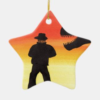 Ornamento De Cerâmica Por do sol no rancho do dinossauro