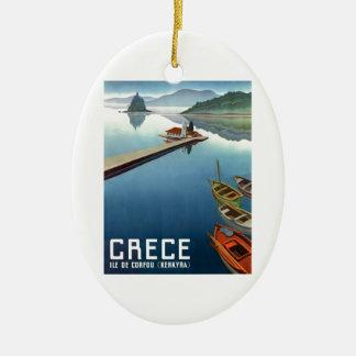 Ornamento De Cerâmica Poster de viagens 1949 da piscina de Corfu