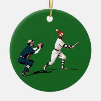 Ornamento De Cerâmica presente do Natal do basebol