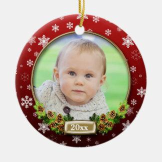 Ornamento De Cerâmica Quadro (vermelho) bonito da foto do Natal