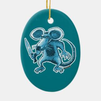 Ornamento De Cerâmica rato irritado com contorno do azul da faca