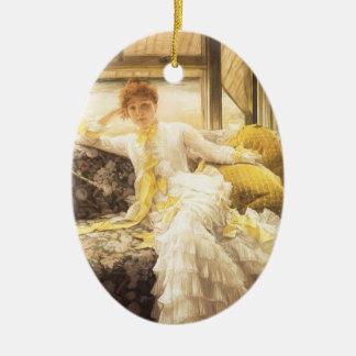 Ornamento De Cerâmica Retrato do vintage, primavera (beira-mar) por