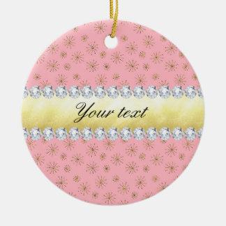 Ornamento De Cerâmica Rosa chique dos flocos de neve do brilho do ouro