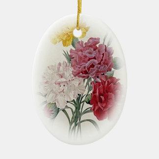 Ornamento De Cerâmica Rosa do aniversário - o delicado afiou o Oval