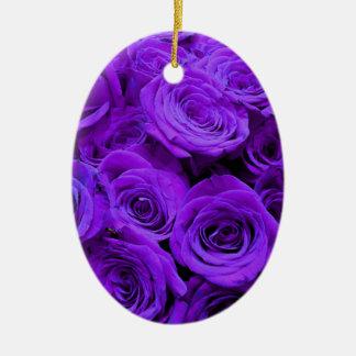 Ornamento De Cerâmica Rosas roxos