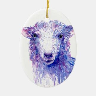 Ornamento De Cerâmica Roxo azul dos carneiros da pintura da aguarela