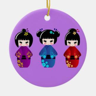 Ornamento De Cerâmica Roxo bonito dos desenhos animados das bonecas do