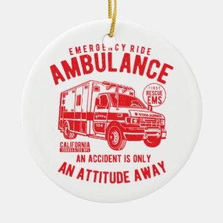 Ornamento De Cerâmica Salvamento do EMS da ambulância do passeio da