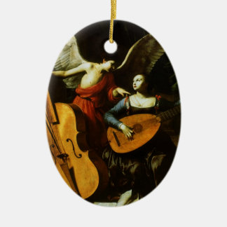 Ornamento De Cerâmica Santo Cecilia e o anjo por Carlo Saraceni