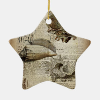 Ornamento De Cerâmica seashell botânico francês do vintage moderno