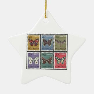 Ornamento De Cerâmica Selos postais da borboleta