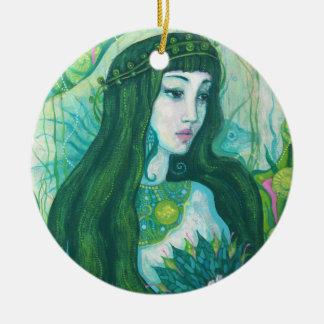 Ornamento De Cerâmica Sereia com flor de Lotus, arte subaquática da