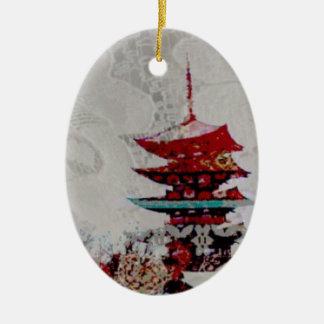 Ornamento De Cerâmica Série do laço do pagode de Japão