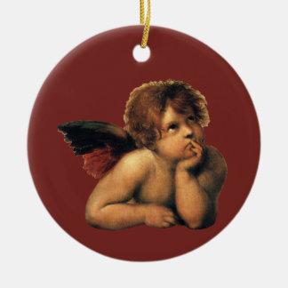 Ornamento De Cerâmica Sistine Madonna, detalhe dos anjos por Raphael