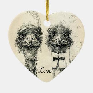 Ornamento De Cerâmica Sr. e Sra. Avestruz