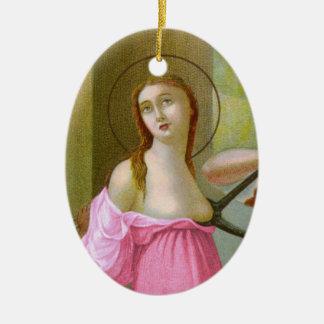 Ornamento De Cerâmica St. cor-de-rosa Agatha da imagem dobro (M 003)
