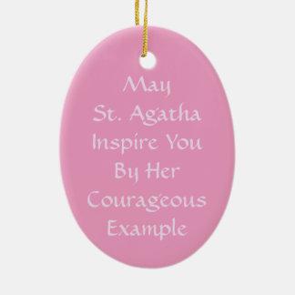 Ornamento De Cerâmica St. cor-de-rosa Agatha (M 003)