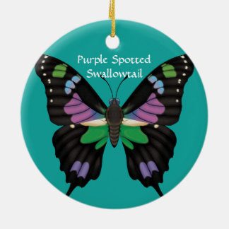 Ornamento De Cerâmica Swallowtail manchado roxo, dorsal e Ventral