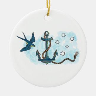 Ornamento De Cerâmica Tatuagem do sul da estrela da andorinha da âncora