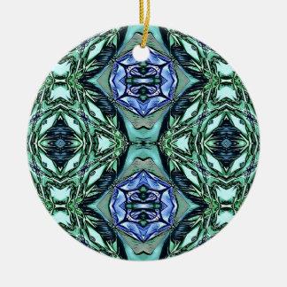 Ornamento De Cerâmica Teste padrão artístico do Lilac Funky da cerceta