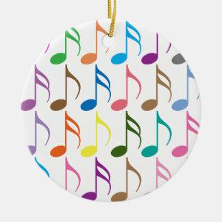 Ornamento De Cerâmica Teste padrão colorido das notas musicais
