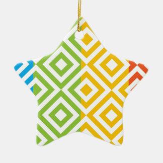 Ornamento De Cerâmica Teste padrão colorido do diamante