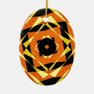 Ornamento De Cerâmica Teste padrão listrado alaranjado e amarelo do