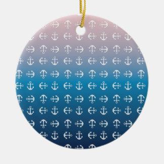 Ornamento De Cerâmica Teste padrão náutico azul da âncora do rosa | do
