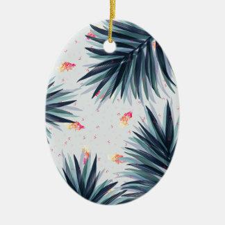 Ornamento De Cerâmica Teste padrão tropical delicado original das folhas