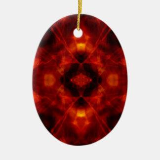 Ornamento De Cerâmica Teste padrão vermelho e preto do caleidoscópio