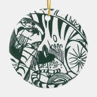 Ornamento De Cerâmica Tigre por Franz Marc, belas artes preto e branco