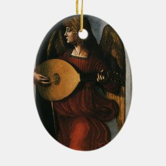 Ornamento De Cerâmica Um anjo no vermelho com um alaúde por Leonardo da