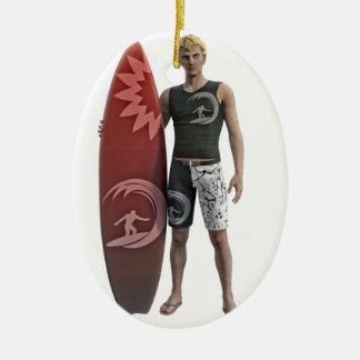 Ornamento De Cerâmica Um surfista que está com sua prancha