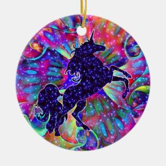 Ornamento De Cerâmica UNICÓRNIO DO UNIVERSO colorido
