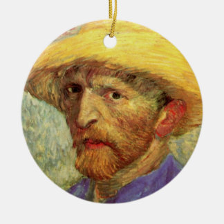 Ornamento De Cerâmica Van Gogh; Retrato de auto com chapéu de palha