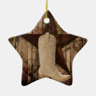 Ornamento De Cerâmica Vaqueira de madeira do país ocidental de estrela