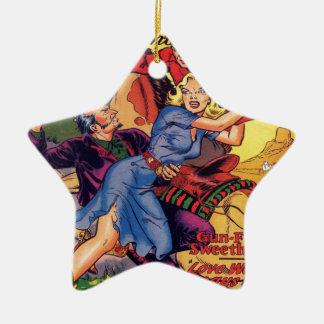 Ornamento De Cerâmica Vaqueira em um vestido azul